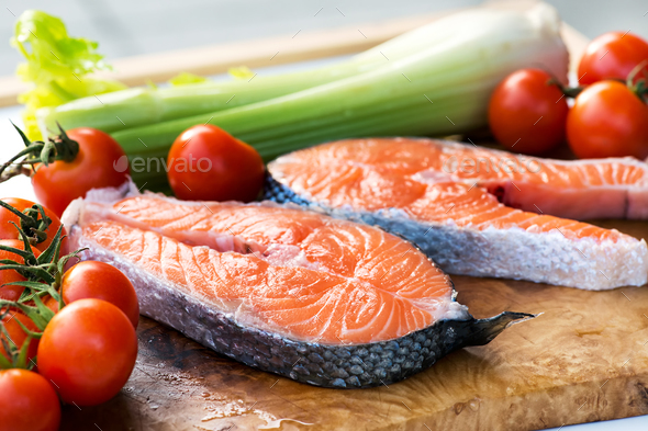 Two slices of gourmet fresh pink salmon - Stock Photo - Images