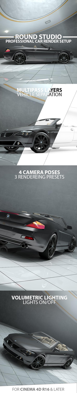 Round Garage Car Render Setup - 3DOcean Item for Sale