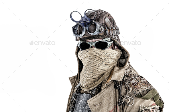 Ecological apocalypse survivor with hidden face - Stock Photo - Images