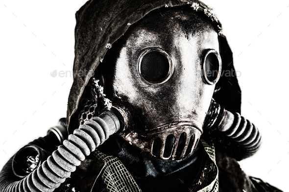 Portrait of post apocalyptic survivor in gas mask - Stock Photo - Images