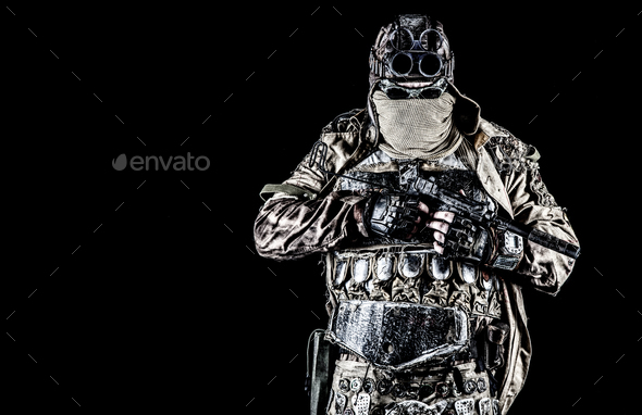 Post apocalyptic survivor with handmade pistol - Stock Photo - Images