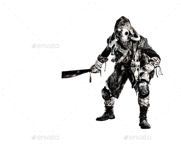 Post apocalyptic human threatening with cane knife - Stock Photo - Images