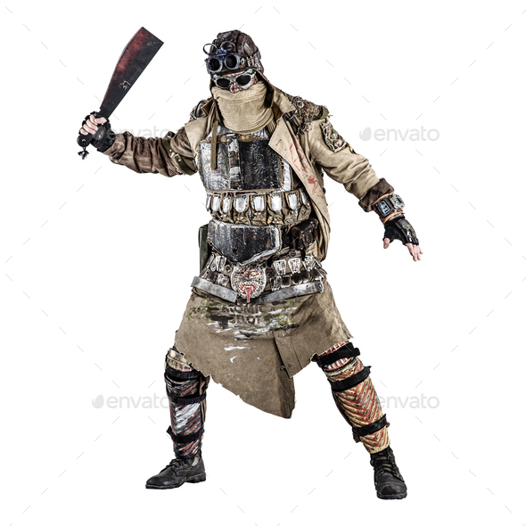 Terrifying post apocalyptic creature with machete - Stock Photo - Images