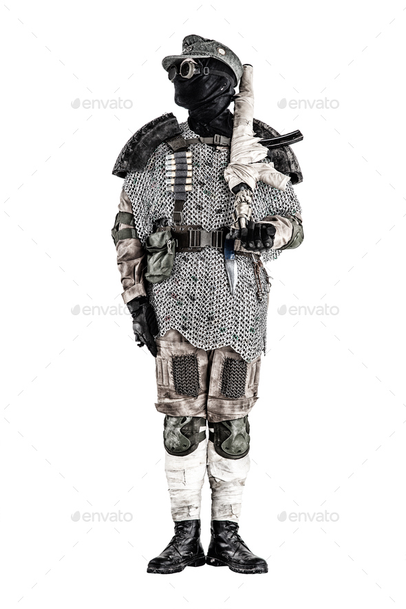 Post apocalyptic warrior with handmade firearm - Stock Photo - Images