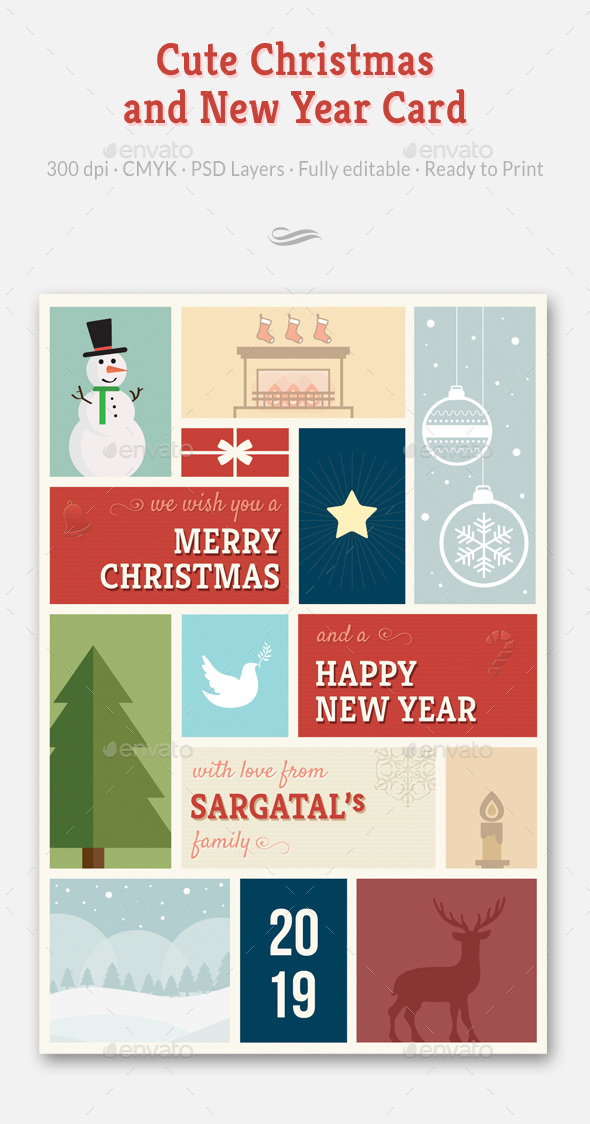 Cute Christmas and New Year Card - Holiday Greeting Cards