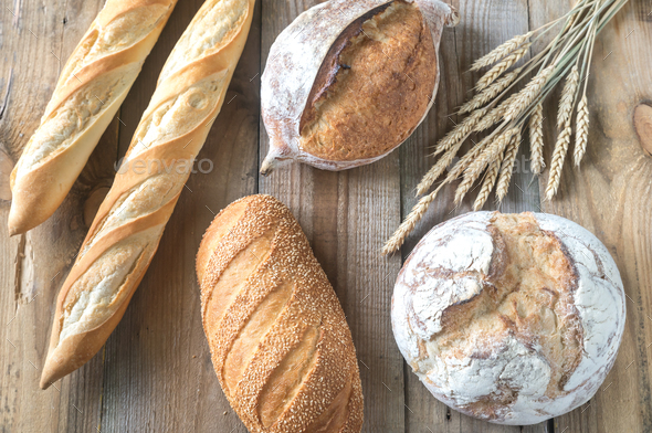 Different kinds of bread  - Stock Photo - Images