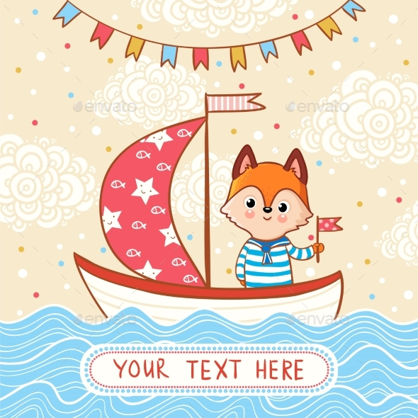 Fox Sails on a Festive Sailboat By the Sea - Animals Characters