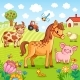 Pets Graze Near the Farm - GraphicRiver Item for Sale