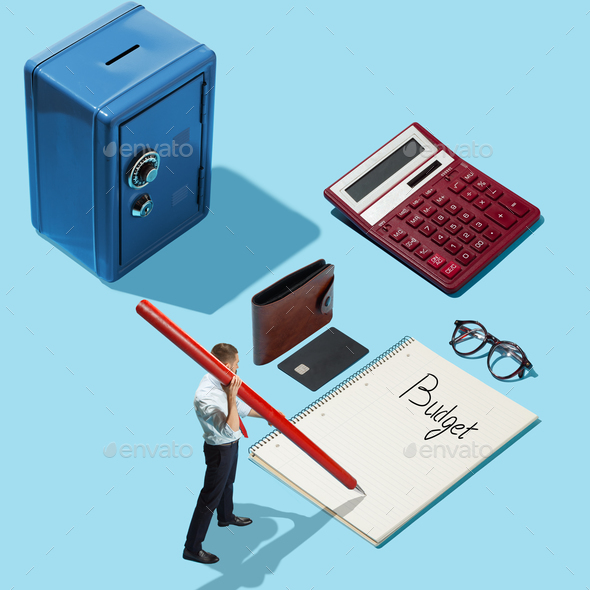 Flat isometric view of businessmen with big pen planning his budget - Stock Photo - Images