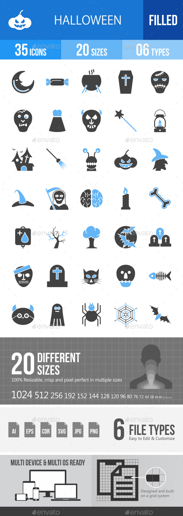 35 Halloween Filled Blue & Black Icons - Icons