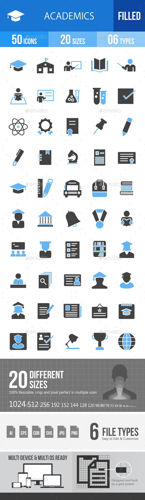 50 Academics Filled Blue & Black Icons - Icons