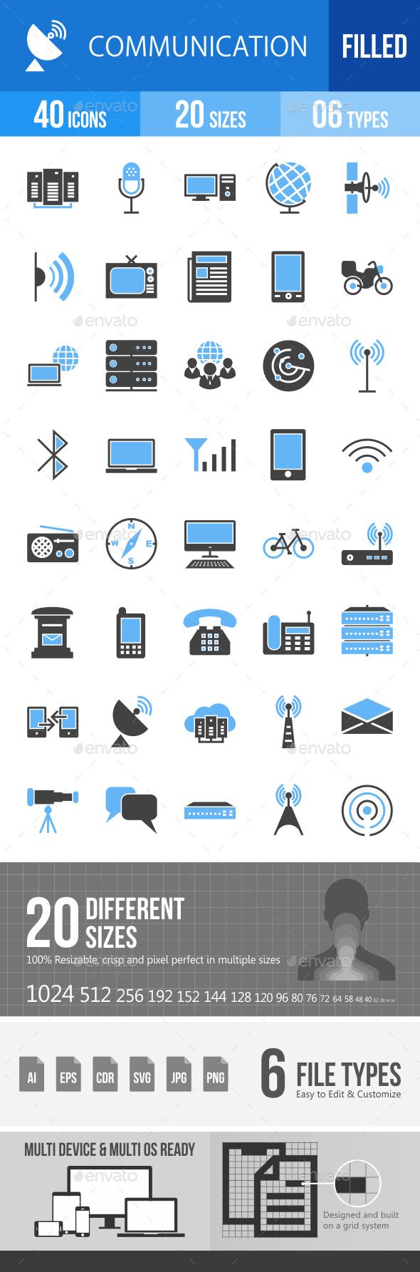 40 Communication Filled Blue & Black Icons - Icons