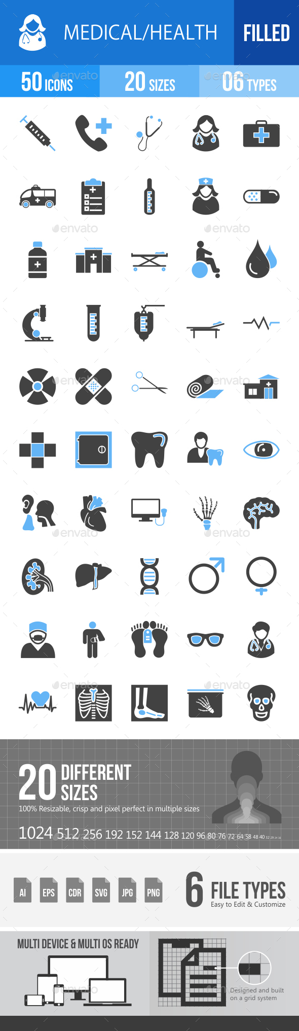 50 Medical Filled Blue & Balck Icons - Icons