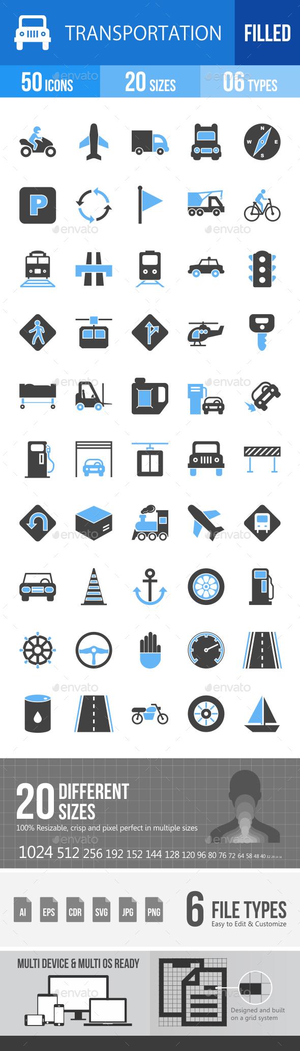 50 Transportation Filled Blue & Black Icons - Icons