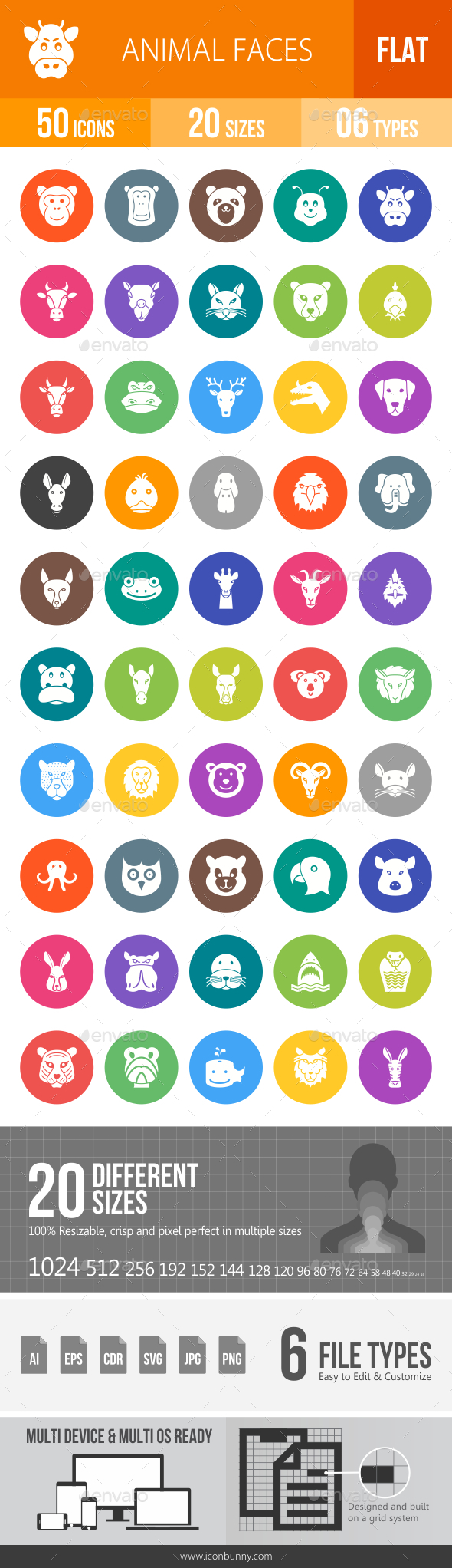 Animal Faces Flat Round Icons - Icons