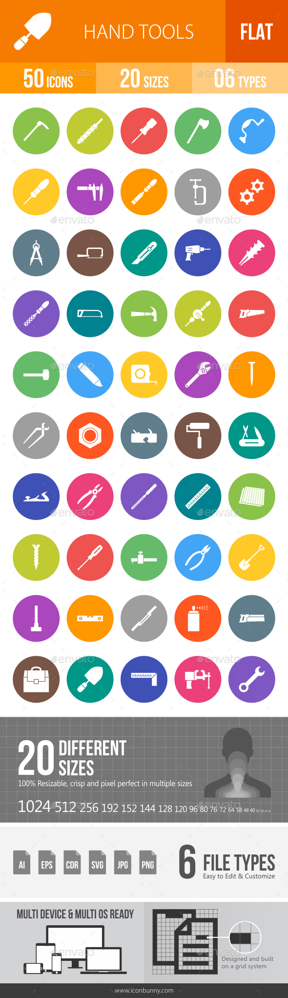 Hand Tools Flat Round Icons - Icons