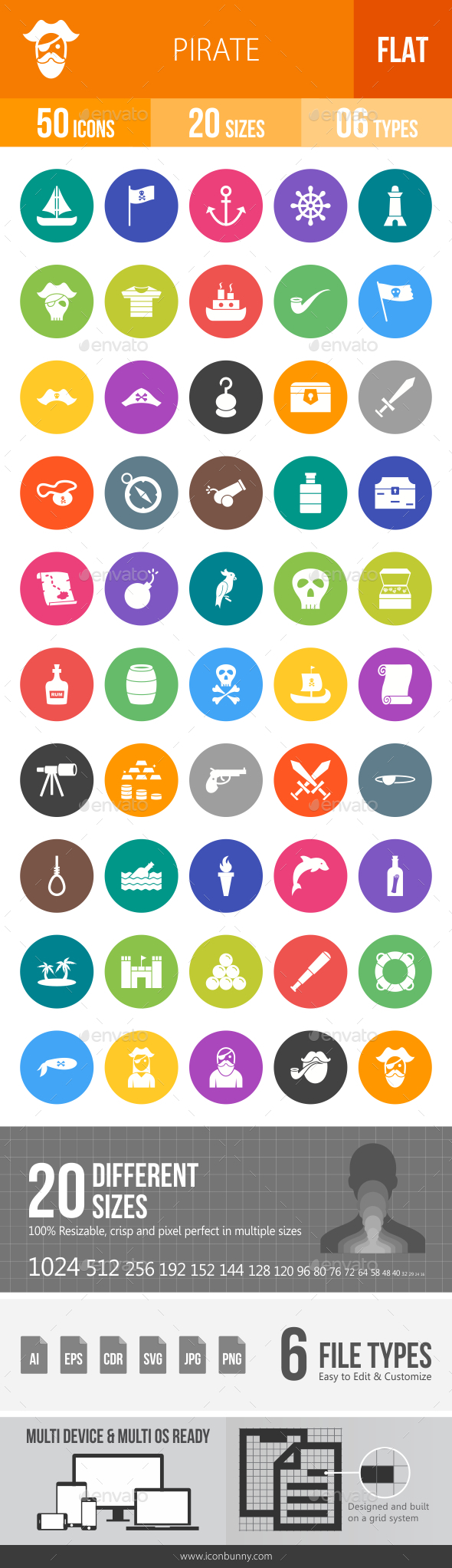 Pirate Flat Round Icons - Icons