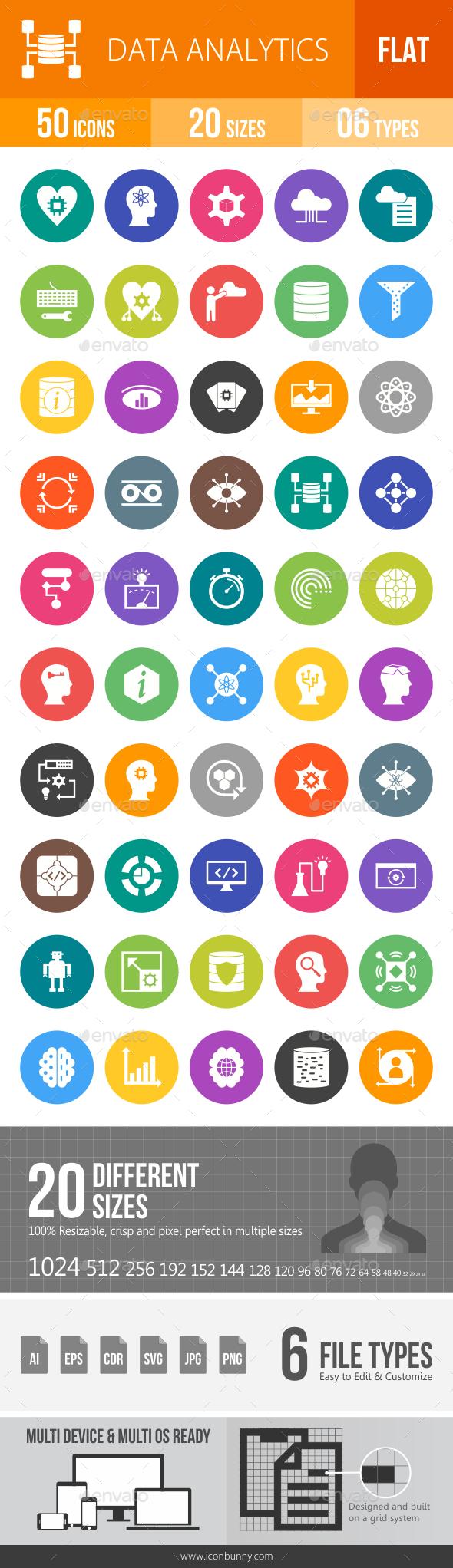 Data Analytics Flat Round Icons - Icons