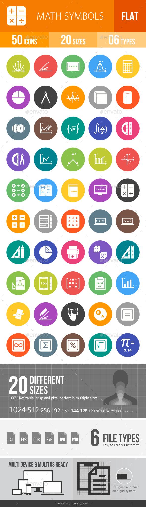 Math Symbols Flat Round Icons - Icons