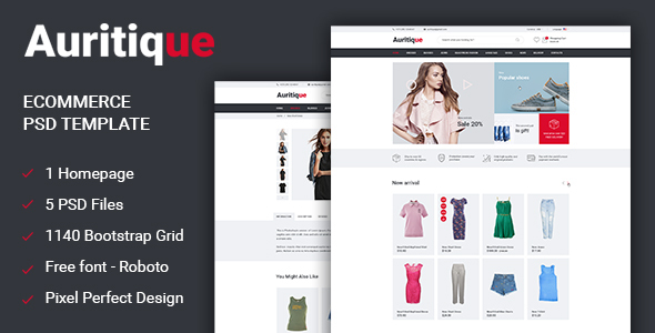 Auritique - Responsive eCommerce PSD Template - Fashion Retail