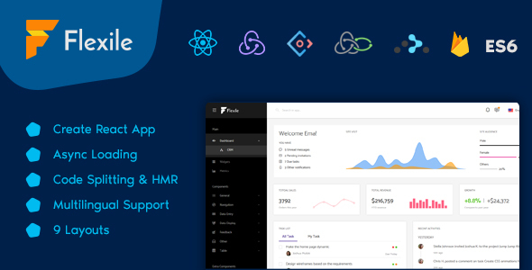 Flexile - React Redux Admin Template based on Ant Framework - Admin Templates Site Templates