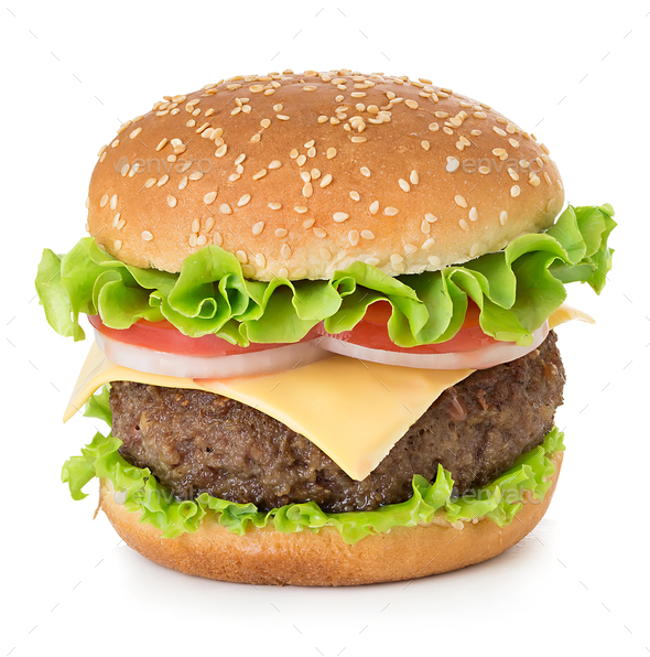 American big delicious classic burger isolated on white background. - Stock Photo - Images