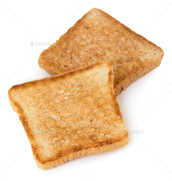 Slices of toast bread isolated on white background. - Stock Photo - Images