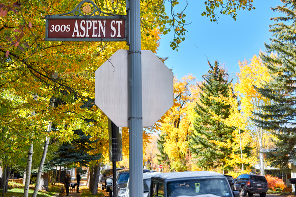 Street in Aspen town at autumn - Stock Photo - Images