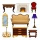 Flat Vector Set of Vintage Furniture