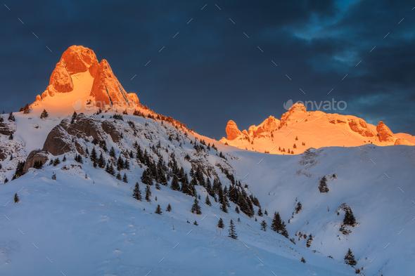 sunrise in Ciucas Mountains, Romania - Stock Photo - Images