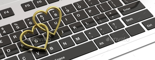Pair of golden wedding rings isolated on computer laptop keyboard, banner, 3d illustration - Stock Photo - Images