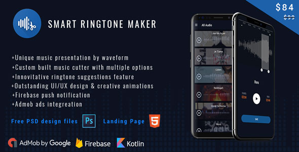 Smart Ringtone maker ( Free PSD files + Landing Page)            Nulled