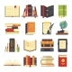 Flat Books Icons Magazines with Bookmark
