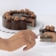 Female Hand Cutting Chocolate Glaze Mousse Cake - VideoHive Item for Sale