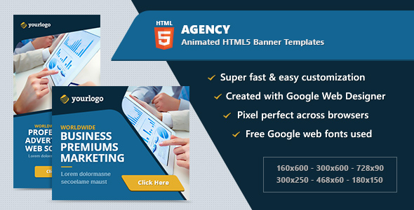 HTML5 Animated Banner Ads - Agency Business (GWD)            Nulled