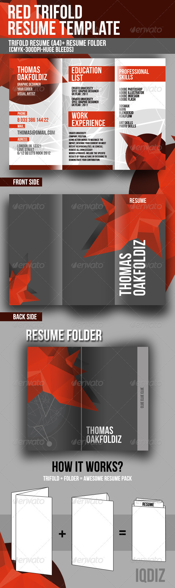 Red Trifold Resume Template By Iqdiz  Graphicriver