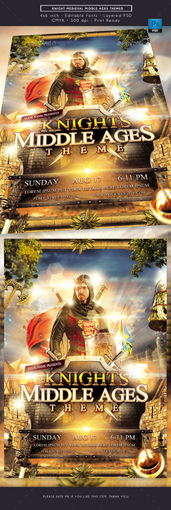 Knights Medieval Middle Ages Themed Flyer - Events Flyers