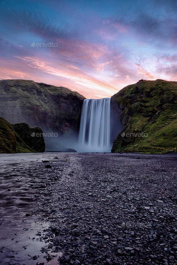 Skogafoss Waterfall, Iceland - Stock Photo - Images