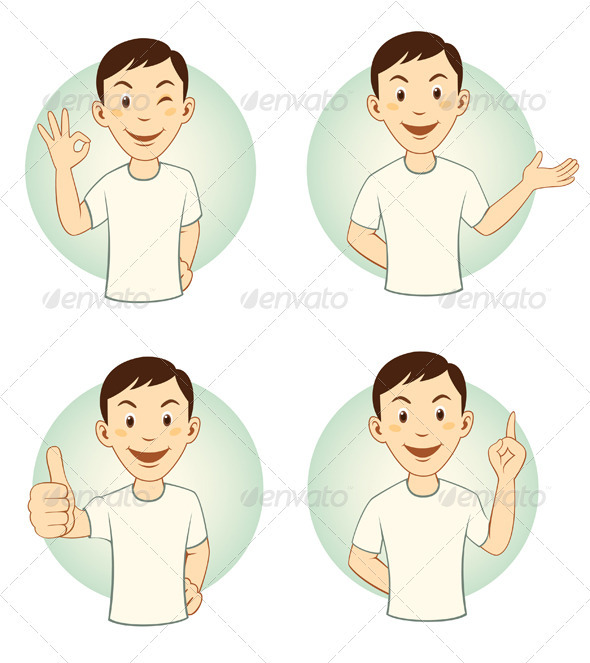 Gesturing Cartoon Man Mascot Set - People Characters