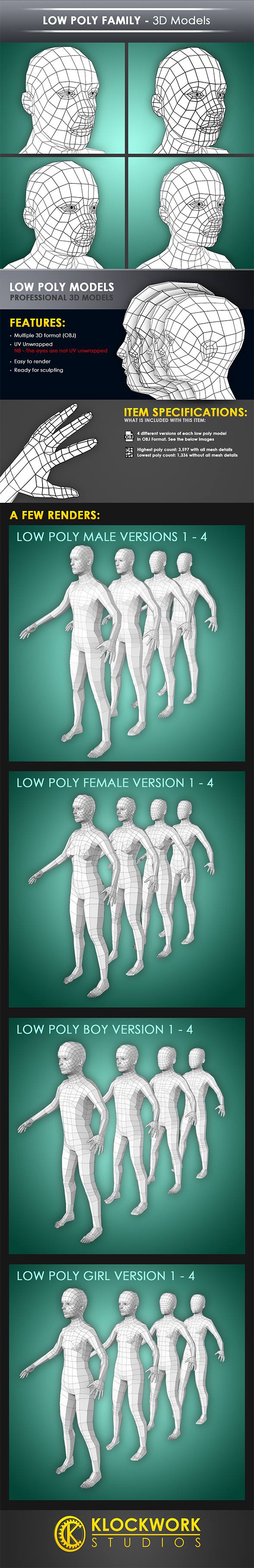 low poly family - 3DOcean Item for Sale