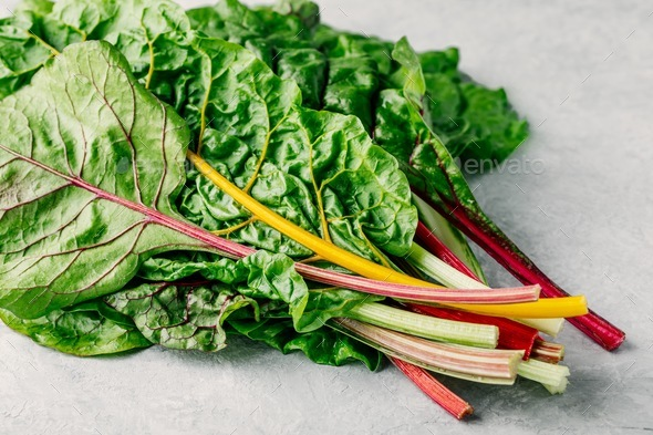 Fresh Raw Swiss Rainbow Chard Leaves On Gray Background Stock Photo By Nblxer