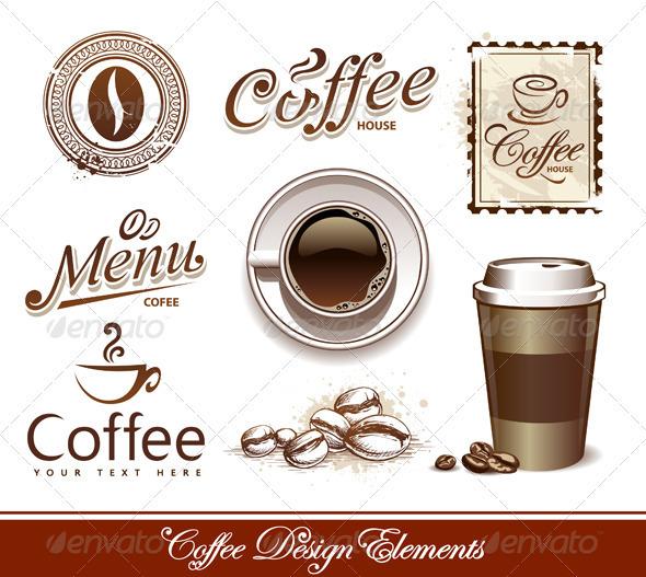 Vector set of coffee design elements - Decorative Symbols Decorative