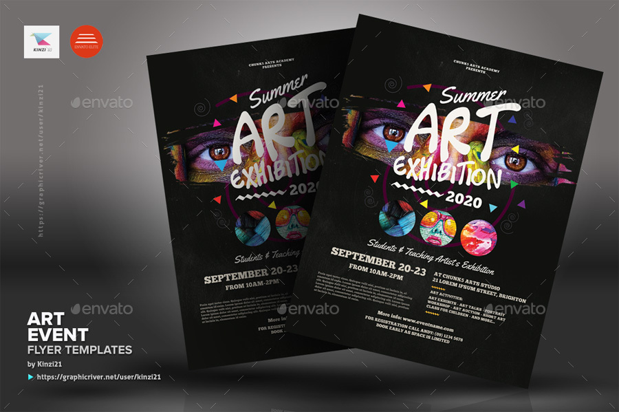 art event flyer templates by kinzi21 graphicriver