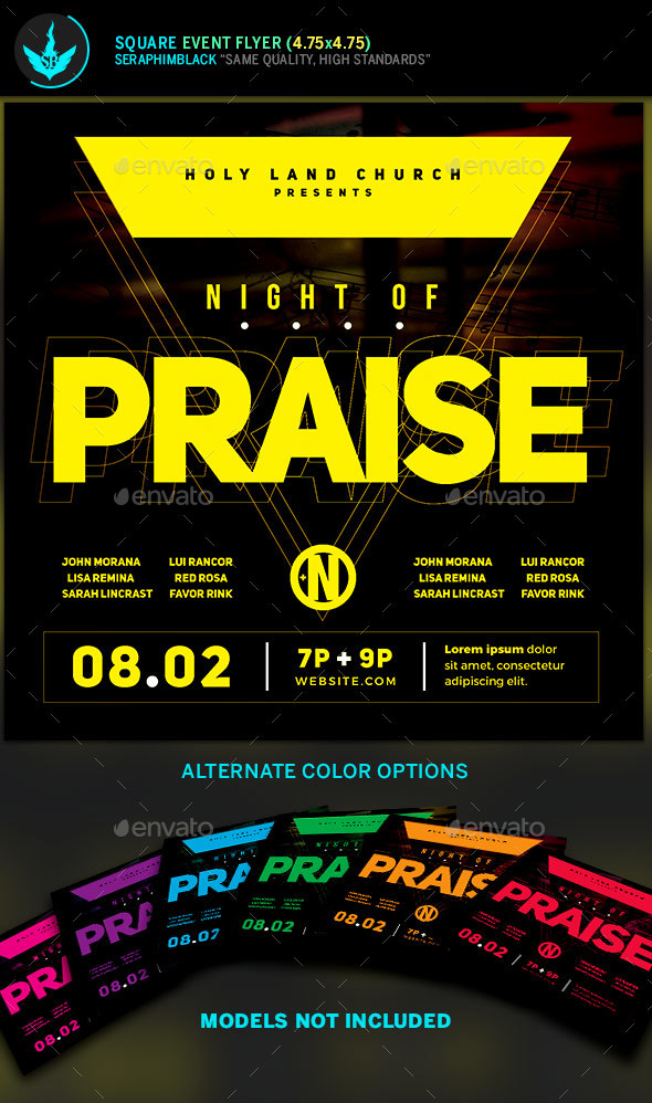 Night of Praise Gospel Concert Square Flyer Template - Church Flyers
