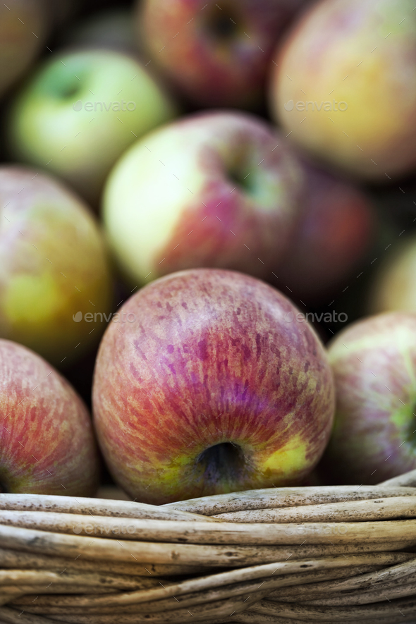 Apples on a basket - Stock Photo - Images