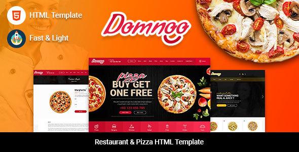 Domnoo - Restaurant & Pizza HTML Template - Restaurants & Cafes Entertainment