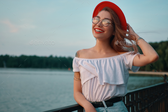 Portrait shiny positive girl with irresistible smile - Stock Photo - Images