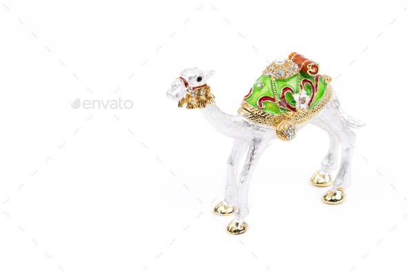 Silver camel on a white background  - Stock Photo - Images