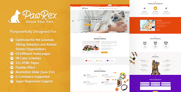 Pawrex: Pet Sitter, Groomer and Animal Shelter Html5 Template - Charity Nonprofit
