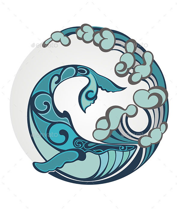 Whale with Water Round Decorative Element - Decorative Symbols Decorative